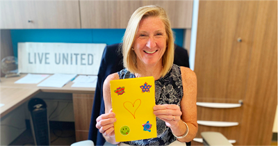 UWGC President and CEO Moira Weir with her Note of Encouragement.