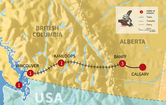 Exploring the Canadian Rockies by Train - Map