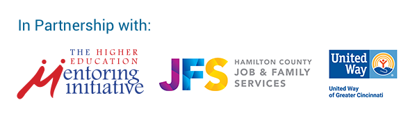 Graphic of HEMI Partners: Hamilton County Ohio JFS Jobs and Family Services, United Way of Greater Cincinnati in Ohio, The Higher Education Mentorship Initiative