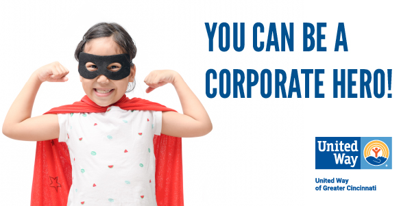 Image of a girl dresses as a superhero! You can be a corporate hero!